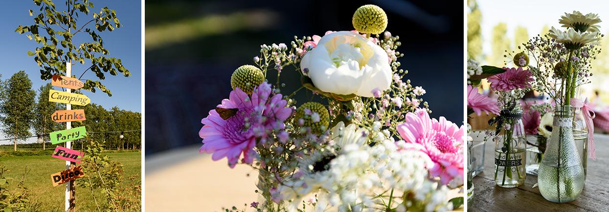 Bloemen op de festivalbruiloft