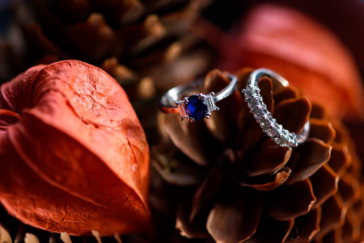 detailfoto van de ringen van de bruid