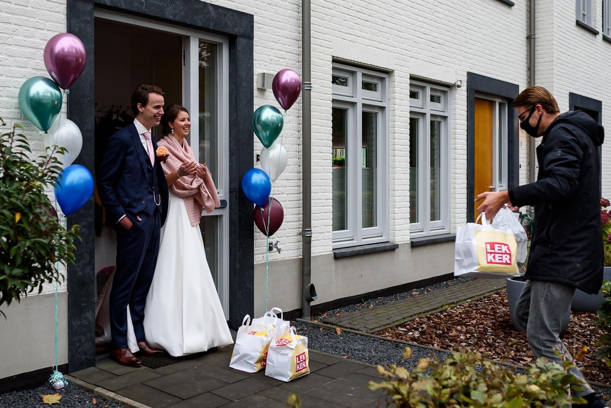 trouwen tijdens corona diner bezorgen