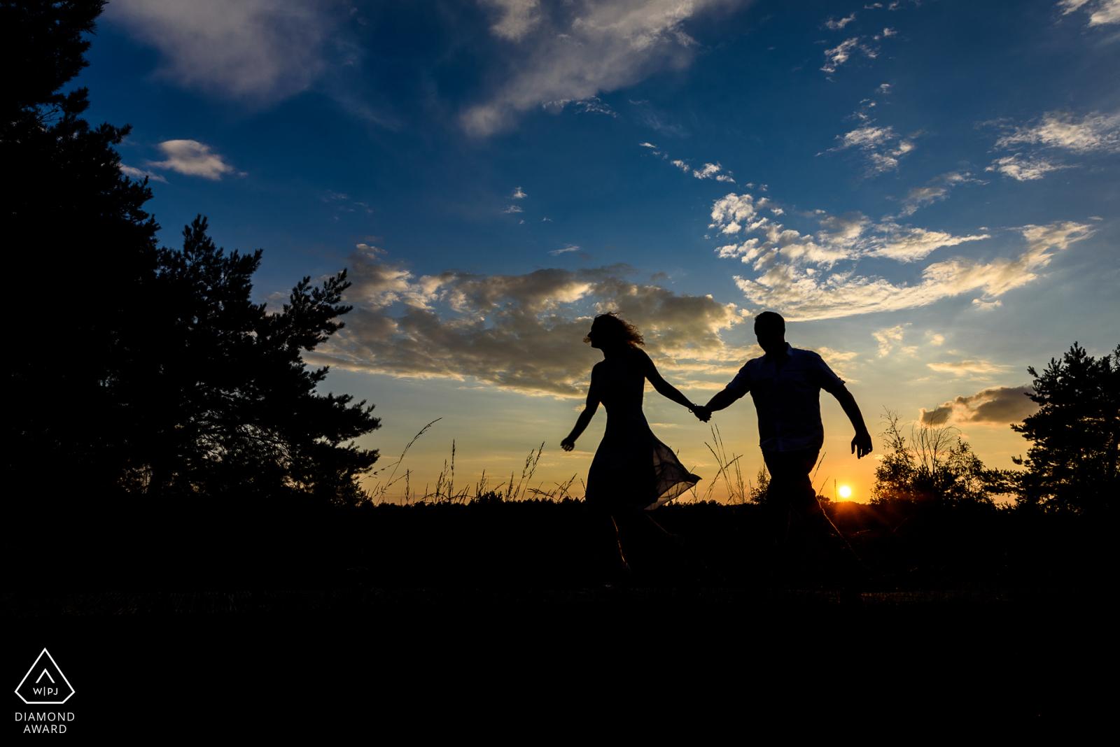silhouet loveshoot zonsondergang